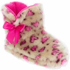 Toddler Girls Fleece Linked Leopard Print Slippers Booties Pink Size Large 9-10