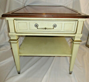 One (1) Vintage Hekman White Wash Gold Trim End Table Night Stand w/Wood Top B