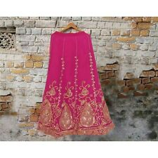 Gonna lunga Vintage sanskriti American Georgette Rosa Fatto a Mano Cucito Leheng...