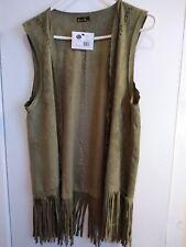 Women's Autumn Winter Faux Suede  Sleeveless Tassels Fringed Faux Vest