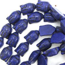 "28mm purple turquoise carved buddha beads 16"" strand"