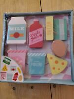 Wooden Blocks Pretend Play Food Grocery Store Kitchen Pantry Set 8 Pieces NEW!