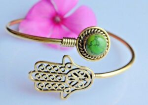 Hamsa Hand Of Fatima Brass Tribal Hand Cuff Bangle Chinese Turquoise Bracelet