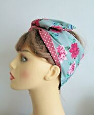 Rockabilly Duck Egg Roses & Peacocks Wide or Narrow Wired Headband reverse Pink