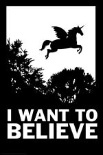 I Want To Believe Unicorn Funny Poster 12x18 inch