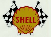 SHELL GAS Vinyl Sticker Decal Garage Station PROMO RACING FLAG Vintage Style F1