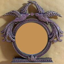 "BEREBI Ornate Vivienne PICTURE FRAME Pink Crystals FLAMINGOS Gold Plate 2"" Photo"