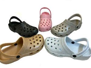 Adult Clogs Unisex Glitter Mules Sandal Garden Hospital Nursing Chef Beach Shoes