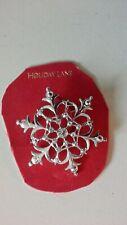 Holiday Lane Silver Tone Clear Crystal Snowflake Pin / Brooch New
