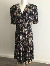 BHS Ladies Navy Floral Vintage Wrapover top Tea Dress Size 16