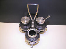Wedgwood Black Basalt Cruet Set with Silver Stand c.1860