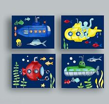 SUBMARINE FISH BATHROOM NURSERY ART PRINTS BABY BOY CHILDREN KID BOY WALL ART