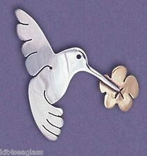 Far Fetched HUMMINGBIRD PIN Sterling Silver & Brass Flower Bird Brooch  - Boxed