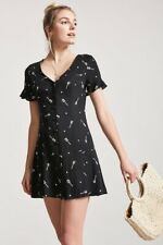 New Retro Forever 21 Black & White Stars  Guitars Button Down Front Dress Medium