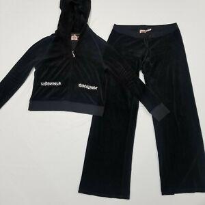 Vintage Juicy Couture Track Suit Black Size XL Jacket Pants Straight Leg Wide
