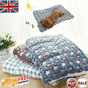 UK Pet Mat Paw Print Cat Dog Puppy Fleece Soft Warm Blanket Bed Cushion Mattress
