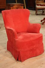 Poltrona in tessuto rosso poltroncina francese stile antico 900 sedia camera XX