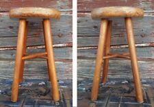 tabouret bois vintage 45,5cm patine deco scandinave original ancien
