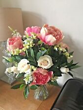LARGE HAND TIED BOUQUET SILK FLOWERS PEONIES , ROSES & BAY FOLIAGE GIFT WRAPPED