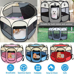 Pet Play Pen Puppy Dog Cat Cage Durable Fabric Foldable Travel Pop up Tent Mesh