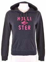 HOLLISTER Womens Hoodie Jumper Size 14 Medium Navy Blue Cotton  IT20