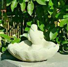 VINTAGE BIRD SHELL BIRDBATH Cement Concrete Stone Feeder Outdoor Garden Accent