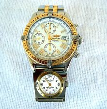 BREITLING D13055 CHRONOMAT WINDRIDER 2 TIME ZONE STAINLESS STEEL 18K GOLD WATCH