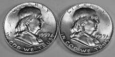 Mint Set of (2) 1959 Franklin Silver Half Dollars - Great White Brilliant  Coins