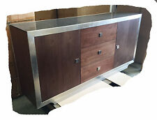 Kat 1700 Walnut With Brushed Stainless Steel & Glass Buffet - BRAND NEW