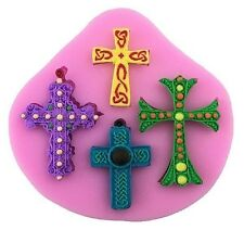 Cross 4 Cavities 4 Styles Silicone Mold - Fondant, Chocolate, Crafts etc.