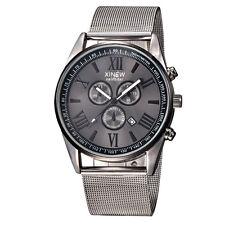 Men Business Stainless Steel Military Watch Sport Analog Quartz Mesh Wrist Watch