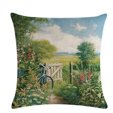 Scenery Country Sofa Decor Pillow Case Linen Throw Cushion Cover Gift BB