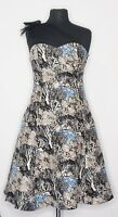 Plenty Frock By Tracy Reese Blue Into the Woods Silk Dress Mesh Strap sz 6