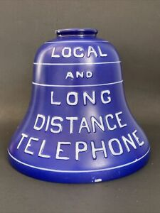 Antique Original Bell System LOCAL AND LONG DISTANCE TELEPHONE Blue Lamp Shade