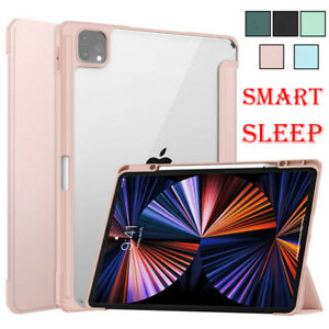 For iPad Pro12.9 2018 2020 2021 Case PU Leather Smart Sleep Clear Magnetic Cover