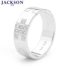 Jackson 925 Sterling Silver Simulated Diamond Men's Gent's Wedding Rings Size U