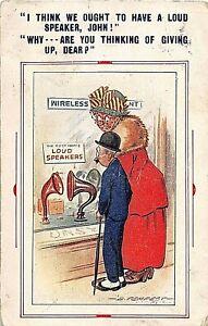 POSTCARD COMIC  WIRELESS THEME - COUPLE - WIFE - LOUD SPEAKER - D TEMPEST