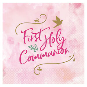 16 x 1st Holy Communion Pink Napkins Girls communion Party Tableware Serviettes