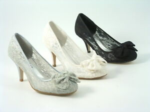 Ladies Women's Round Toe Lace Bow wedding shoes bridesmaid  prom heels sizes