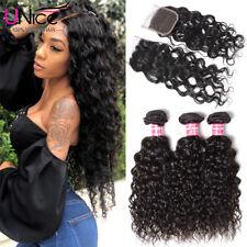 UNice Brazilian Virgin Hair 3 Bundles with Closure Water Wave Human Hair Weaves