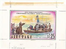 Aitutaki 1992 Columbus America Original Artwork for issued $1.25 Superb & UNIQUE