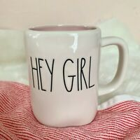 "NEW! Rae Dunn ""HEY GIRL"" LL Mug (pink Interior) Large Letter 2021 HTF"