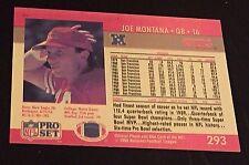 JOE MONTANA 1990 Pro Set ERROR Blank FRONT and PINK Back #293 W@W!! Rare Scarce