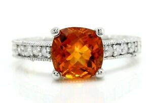 2.43 Carat Natural Madeira Citrine and Diamonds in 14K Solid White Gold Ring