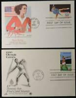 USA 1980 FDC postcards olympic games javelin figure skating