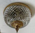 "Vintage Brass Crystal Diamond Quilted  Flush Mount Chandelier Ceiling Light 8"""