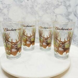 Budweiser Buckmasters Deer Pint Drinking Glasses set of 4 vintage 1999 Beer