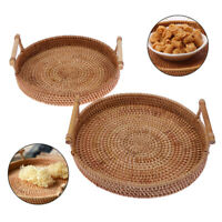 Rattan Storage Tray Round Basket with Handle Wicker Bread Fruit Food Basket