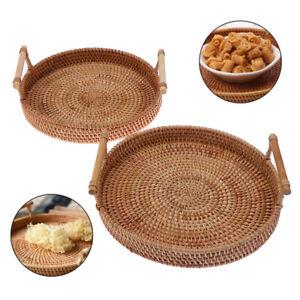 Rattan Storage Tray Round Basket with Handle Wicker Bread Fruit Food BasketM!