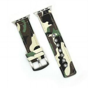 Camouflage Canvas Fabric Strap for Apple Watch Band iWatch 6 5 4 3 Bracelet Belt
